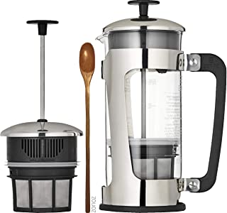 Espro Press P5 with Coffee Filter (3-4 cups, 18 oz) Bundle with Spoon, French Press Style Coffee Maker, Stainless Steel Cage, Carafe with Safety Lock™ (With Coffee Filter, 32 oz)