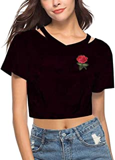 AGQT Women's Rose Embroidery Crop Tops Summer Casual Cut Out Short Sleeve Tees Shirts Blouse Top