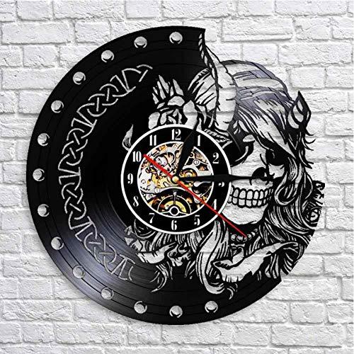 Hopeyard Mysterieuze Vinyl Record Mute Quartz Wandklok Schoonheid Vrouwelijke Viking Schedel Hoofd Skelet Meisjes Retro Hangend Horloge
