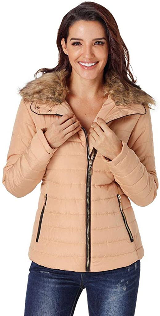 Wocachi Winter Coats for Women Faux Fur Lined Hood Zip Up Womens Down Coat Solid Color Warm Down Jacket with Pocket