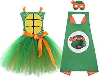 AQTOPS Girls Superhero TMNT Costume Halloween Role Play Outfits