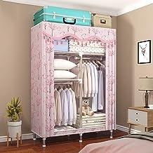 HN Wardrobe, Cloth Wardrobe Assembly Cloth Wardrobe Simple Cabinet All Steel Frame Folding Storage Cabinet Double Wardrobe...