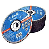 S&R Disco de corte 125 mm para Metal y Hierro 125 x2, 0x22, 23 mm A30 S-BF para uso profesional. Juego de 25 discos 125 metal para amoladora angular.