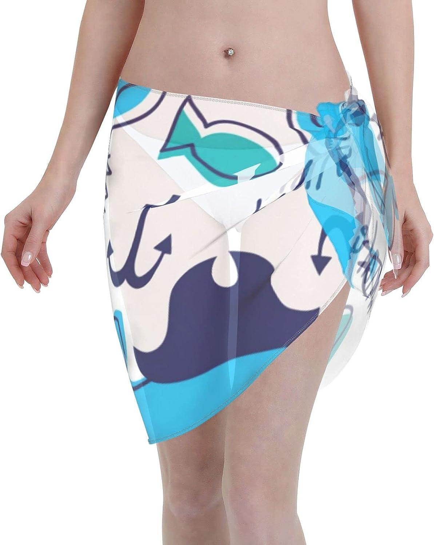CHIC&TNK Women Short Sarongs Beach Wrap Pirate Whale Bikini Wraps Chiffon Cover Ups for Swimwear