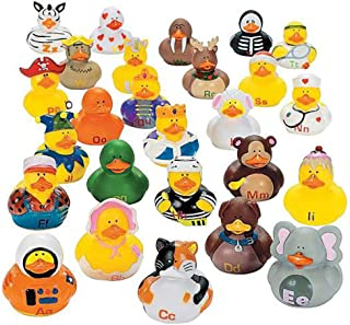 Kicko Alphabet Rubber Duck Toys - 26 Pieces Assorted Duckies for Kids Party Favors, on Birthdays, Baby Showers, All Time Favorite Bath Companion for Summer Beach and Pool Activity