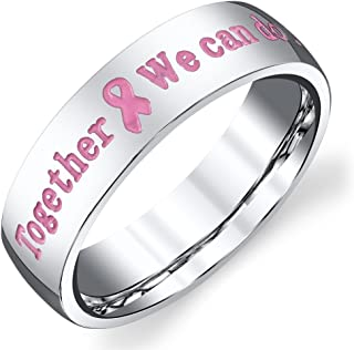 Forever Flawless Jewelry 6mm High Polished Stainless Steel Together We can do it Pink Breast Cancer Awareness Band
