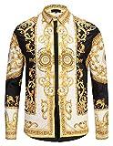 PIZOFF - Camisa de manga larga para hombre, diseño barroco Y1792-29 S