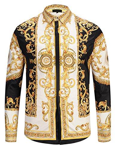 PIZOFF Herren Langarm Golden Hemden mit Baroque-Motiven, Y1792-29, XL