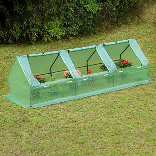EROMMY 95' W × 32' D × 32' H Portable Mini Greenhouse Outdoor Green Plant Hot House with Zipper Doors for Garden,Patio,Home,Backyard,Green