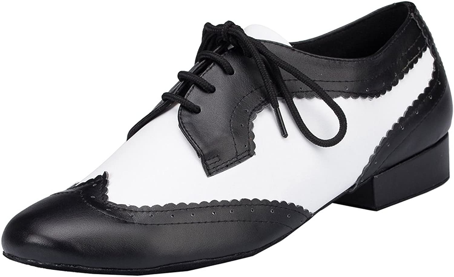 TDA Womens Lace-up 1'Inches Leather Latin Modern Salsa Tango Ballroom Wedding Dance shoes
