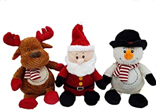 All Day Gifts 14 Inch Christmas Holiday Soft Plush Toys with Gift Tags - Santa, Reindeer and Snowman Dolls Set of 3