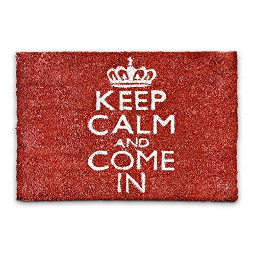Relaxdays Fußmatte Kokos Spruch KEEP CALM 40 x 60cm Kokosmatte mit rutschfester PVC Unterlage Fußabtreter aus Kokosfaser als Schmutzfangmatte und Sauberlaufmatte Fußabstreifer für Außen und Innen, rot