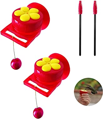 Hummingbird Feeder for Window Small Handheld Bird Flower Feeders with Perch Cleaning Brush Red (2-Set, Red)