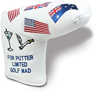HAIYUE Golf Head Cover Putter USA UK FRA Flag Blade Club Headcovers PU Leather Embroidered Blade Fit All Brands Gift Accessories for Men Women