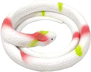 SUKRAGRAHA 27 inch Fake Rubber Snake Scary Toy Garden Props Practical Joke (Grass, White)