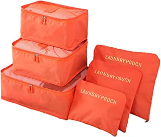 6 Set Travel Packing Organizers Cubes, Storage Pouches for Luggage Sorting - Orange