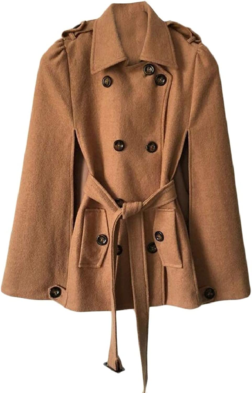RGCA Women's Casual Warm DoubleBreasted Cape Cloak Pea Coat with Belt