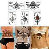 5 Sheets 13.8x24cm Sternum Chest Temporary Tattoo Big Body Art Sticker Jewelry Pendant