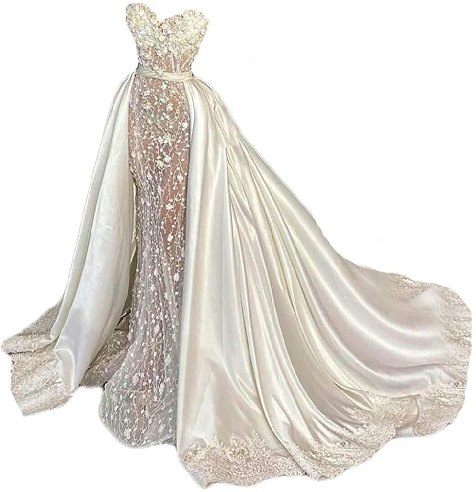 Simlehouse White/Ivory Overskirt for Wedding Dress Bridal Satin Detachable Train Dress with Lace Edge