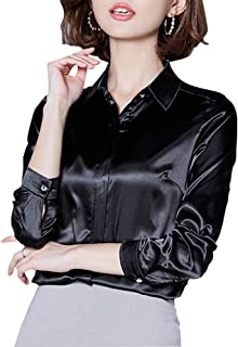 41ab6d55b2e31d Women's Silk Blouse Long Sleeve Lady Shirt Casual Office Work Blouse Shirt  Tops