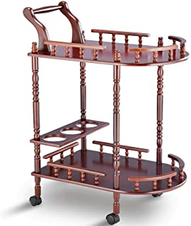 Adumly Serving Bar Cart Trolley Wood 2 Tier Rolling Wine Rack Stand Cherry