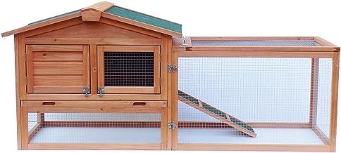 """Zebery 61"""" Waterproof Two-Tier Wooden Rabbit Hutch Cage Chicken Coop House Bunny Hen Pet Animal Backyard Ru"""
