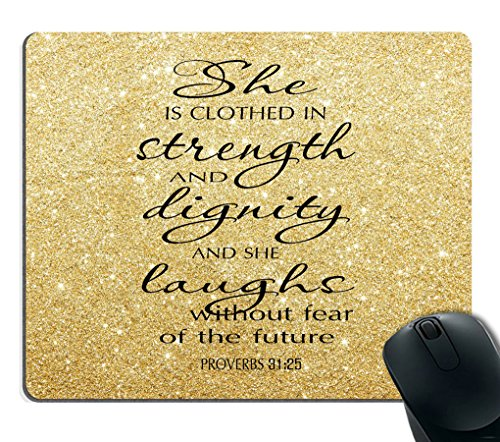 Smooffly Proverbs 31:25 Mouse Pad,Bible Verse Gold Sparkles Glitter Pattern Mouse Pad