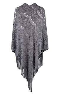 QZUnique Women's Sweater Cape Pullover Knitted Shawl Scarf Tassels Knit Poncho Wrap