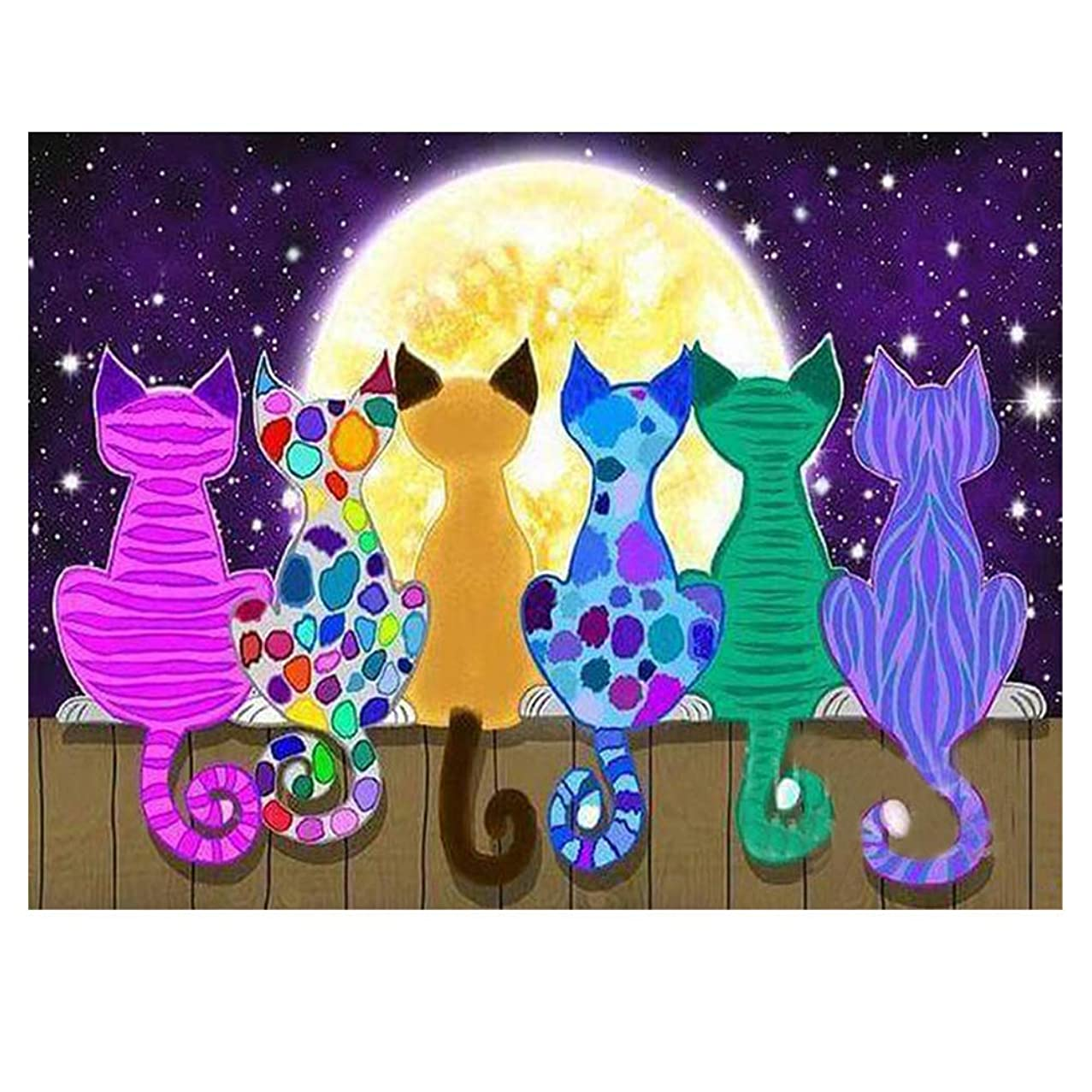 DIY 5D Diamond Painting Kit for Adults Children, NYEBS DIY Painting with Diamonds Animal Full Round Drill Moon Cats Rhinestone Embroidery Arts Craft Supply for Wall Decoration 12X16 inches