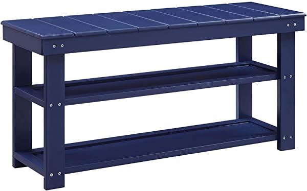 Convenience Concepts 203300CBE Oxford Utility Mudroom Bench Cobalt Blue