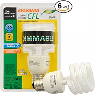 Sylvania CFL 2700K 100W Replacement Bulbs, Soft White, Dimmable, 6-Pack