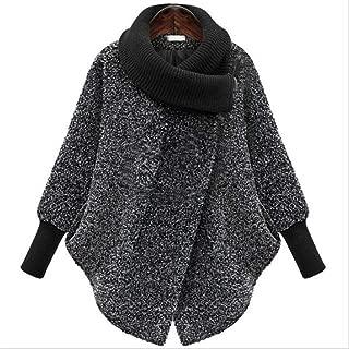 LUKEEXIN Bat Sleeved Woolen Coat Scarf Collar Jackets Women Winter Fashion Outerwear Thicker Loose Coat Zipper Casual