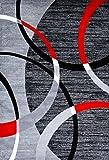 Persian-Rugs 3895 Gray Swirls 5'2 x 7'2 Modern Abstract Area Rug Carpet