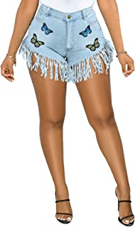 SeNight Women Jean Shorts for Distressed Frayed Raw Hem High Waisted Ripped Denim Hot Shorts with Butterfly