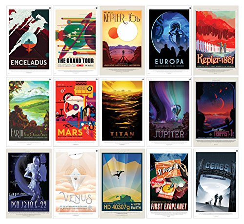 """NASA JPL Space Travel Posters (ALL 15 POSTERS) 11"""" x 17"""" - Guaranteed Certified PosterOffice Prints with Holographic Numbering for Authenticity. Each poster is 11""""x17"""" in size."""