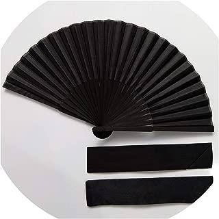 SATOSHI DUN 2019 Classic Black Cool Fan Black Plain Silk Fan Handmade Handmade Folding Home Decoration Crafts Elegant Men's Fan,1