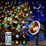 NUÜR Christmas Projector Light, LED Decorative Lights Display with Wireless Remote Control, Waterproof, Colorful & Festive Four Pattern Rotating Effect, Ideal for Xmas Party Yard Garden Decor