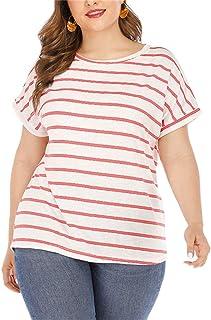 Women's Plus Size Short Sleeve Solid T-Shirt Summer...