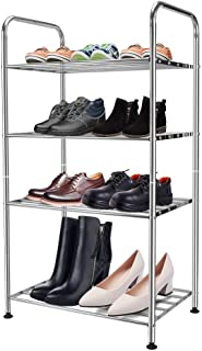 Mai Hongda 4-Tier Free Standing Shoe Racks Stainless Steel Tower Simple Small Metal Shelf Height Adjustable Organizer for Kitchen Bathroom Laundry Room Storage Shoes Towels Clothes (18'' 4-Tier)