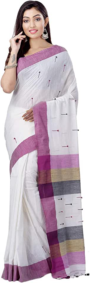Indian dB DESH BIDESH Women's Tant Cotton Saree With Blouse Piece (DBSARE011219WBP2_White,purple,grey) Saree