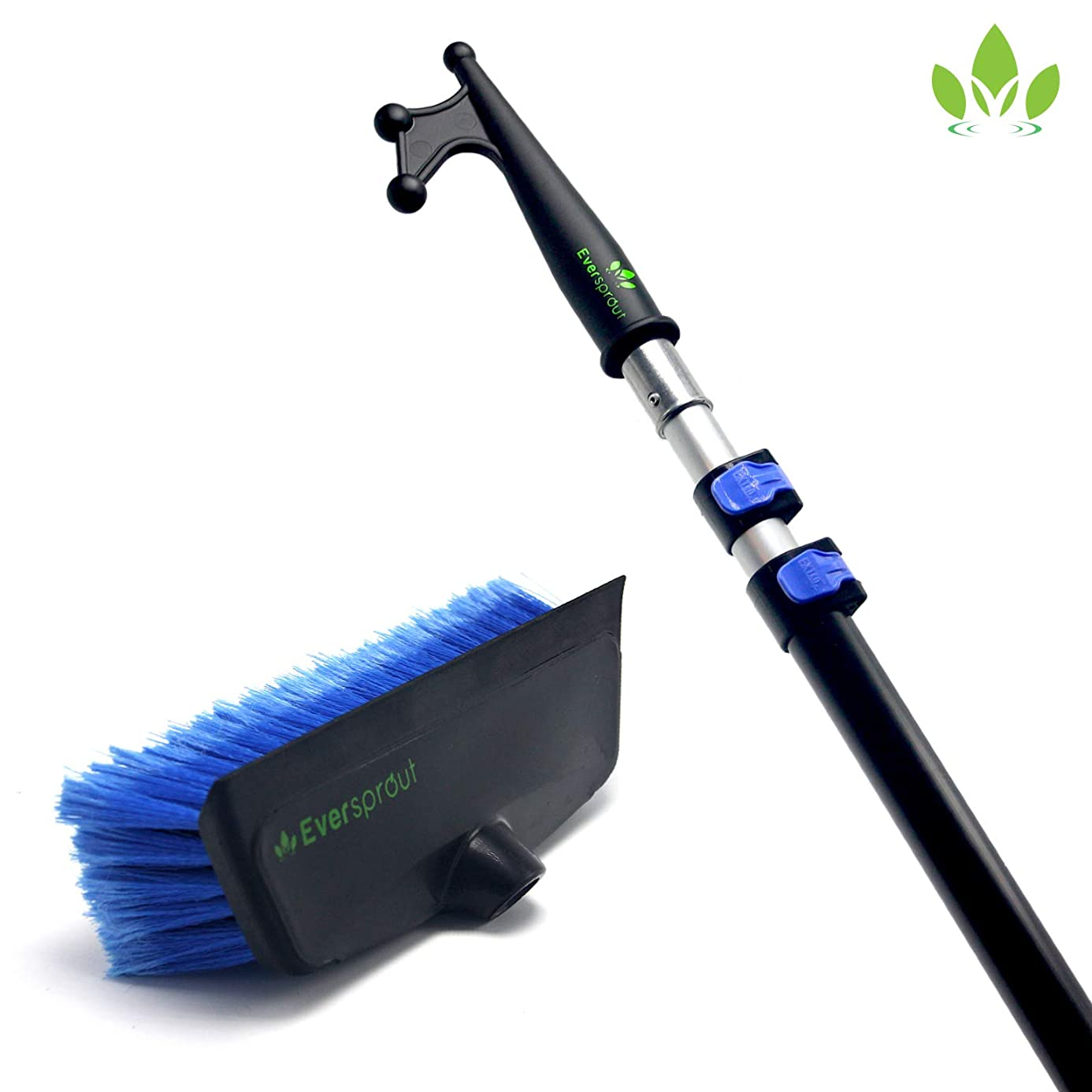 EVERSPROUT Boat Hook & Scrub Brush Kit | Soft-Bristle Deck Brush with Built-in Bumper Prevents Scratching | Durable, Lightweight Boat Hook | Floating Design (Pole Optional)