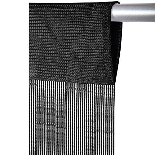 Arsvita Fadenvorhang mit Stangendurchzug, individuell kürzbare Gardine, moderner und eleganter Dekorationsartikel in vielen Farben und Ausführungen (B90xL250 cm/schwarz - JetBlack)