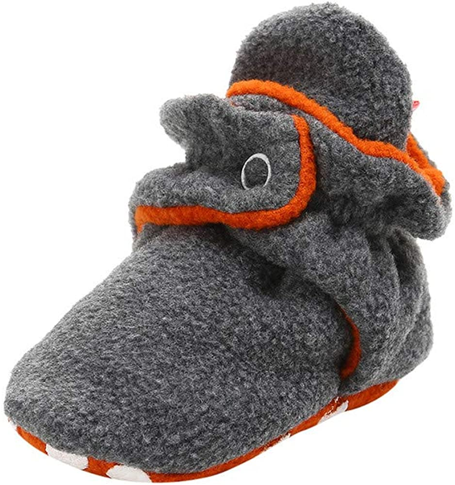 Baby Girl Boy Cozy Fleece Booties Toddler Soft Sole Crib Shoes Infant Cotton Snow Boots Non Skid Bottom