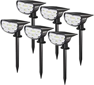 JESLED Solar LED Landscape Spotlights, Outdoor IP67 Waterproof Spot Lights Solar Powered, Bright White 2-in-1 Wireless Security Wall Light for Yard Garden Path Driveway Porch Walkway Pool Patio 6-Pack