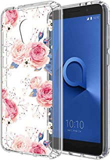 Alcatel Avalon V case,Alcatel IdealXTRA Case,Alcatel TCL LX case for Women Girls,PUSHIMEI Clear TPU + Hard PC Back with Flower Pattern Case Cover for Alcatel 1X Evolve(Rose Flower)