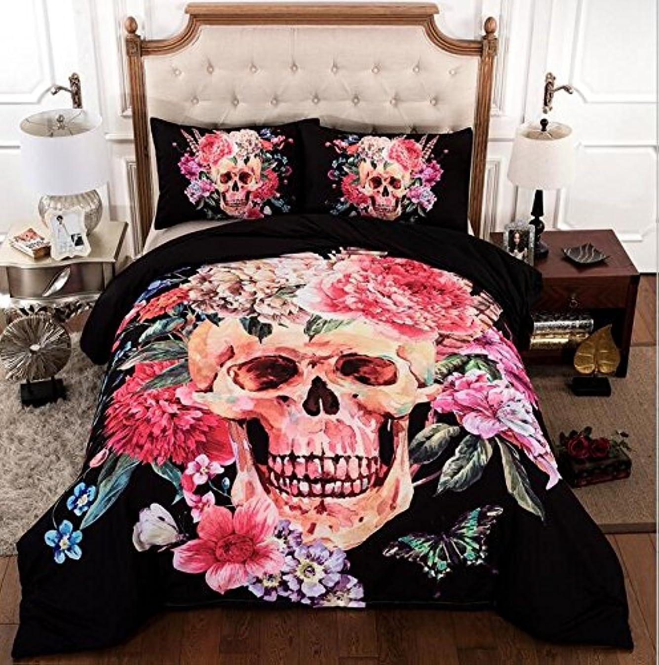 不誠実ランチ周辺信頼Blooming Flower on Skull印刷3d寝具セット100?%コットンハロウィン布団カバー掛け布団セット ツイン