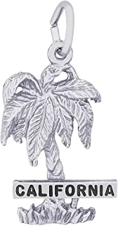 Rembrandt Sterling Silver California Palm Charm on a Sterling Silver Rope Chain Necklace