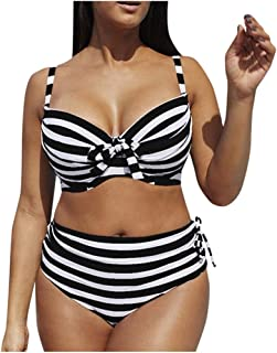 Bigfanshu Womens Stripe Large Size Bikini Set Stripe Plus Size Set Swimsuit Sexy Casual Low Waist Summer Swimwear