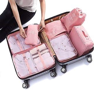 Bolsas de Viaje 7 En 1, LONK Organizador de Equipaje Viaje (3 Bolsa de Malla, Ropa Interior Bolsa, Toiletry Bolsa, Lavar B...