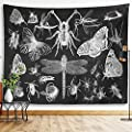 "Butterfly Tapestry Insects And Moths Wall Hanging Black And White Gothic Biology Entomology Wall Decor Grunge Moth Tattoo Wiccan Dragonfly Beetle Spider Witchy Tarot Bohemian Goth Tapestry For Living Room Bedroom College Dorm Room (Insects & Moths, 59""x79"
